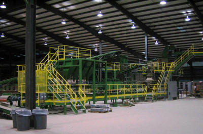 Clay brick pug mill, extruder, even-feeder and related equipment, walkways, platforms and structures.